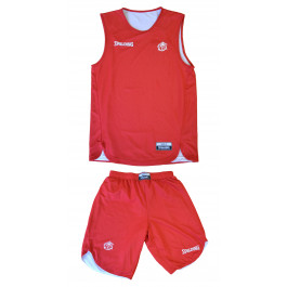 Maillot et Short Rouge/Blanc Spalding Double Face Kid Set